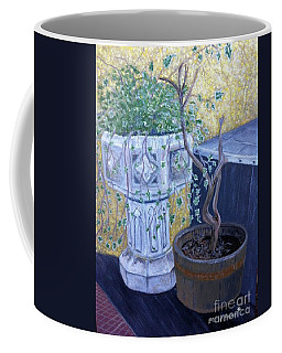 Coffee Mug featuring the painting Sean's Planter by Brenda Brown