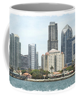 Seaport Village And Downtown San Diego Watercolor Coffee Mug by Claudia Ellis