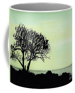 Coffee Mug featuring the drawing Seashore Silhouette by D Hackett