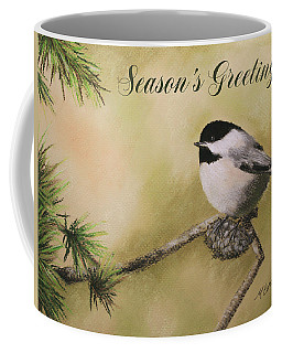Season's Greetings Chickadee Coffee Mug by Marna Edwards Flavell