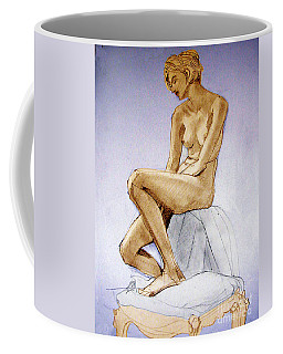 Tinted Figure Drawing Of A Seated Female Nude Dreaming Coffee Mug