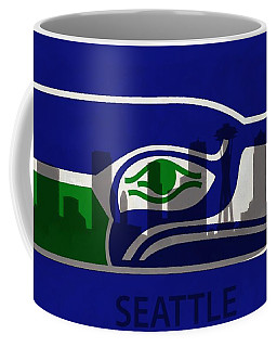 Seattle Seahawks On Seattle Skyline Coffee Mug