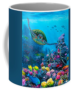 Secret Sanctuary - Hawaiian Green Sea Turtle And Reef Coffee Mug