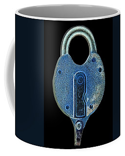 Coffee Mug featuring the photograph Secure - Lock On Black  by Denise Beverly