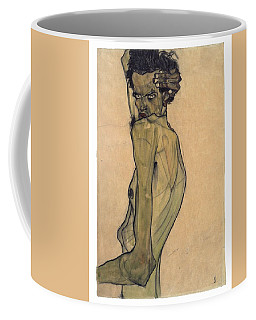Coffee Mug featuring the painting Self-portrait With Arm Twisted Above Head by Egon Schiele