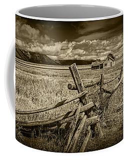 Sepia Colored Photo Of A Wood Fence By The John Moulton Farm Coffee Mug