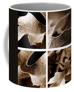 Coffee Mug featuring the photograph Sepia Leaf Collage by Lauren Radke
