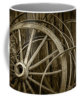 Sepia Photo Of Broken Wagon Wheel And Rims Coffee Mug