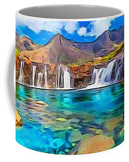 Coffee Mug featuring the digital art Serene Green Waters by Catherine Lott
