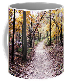 Coffee Mug featuring the photograph Serenity Walk In The Woods by Peggy Franz