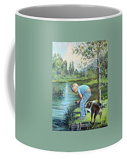 Seth And Spiky Fishing Coffee Mug by Donna Tucker