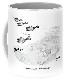 Several Geese Fly In A V-formation Coffee Mug