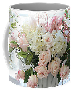 Shabby Chic Basket Of White Hydrangeas - Pink Roses - Dreamy Shabby Chic Floral Basket Of Roses Coffee Mug