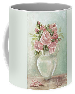Shabby Chic Pink Roses Painting On Aqua Background Coffee Mug