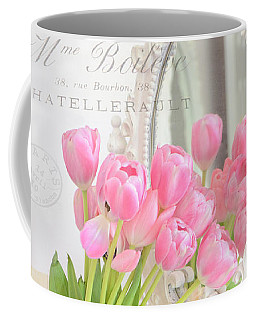 Shabby Chic Tulips Reflection In Mirror - Dreamy Romantic Cottage Pink Tulips Floral Art Coffee Mug