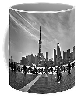 Shanghai Skyline Black And White Coffee Mug by Delphimages Photo Creations