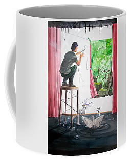 Shaping The Peace Listen With Music Of The Description Box Coffee Mug by Lazaro Hurtado