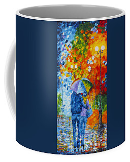 Coffee Mug featuring the painting Sharing Love On A Rainy Evening Original Palette Knife Painting by Georgeta Blanaru
