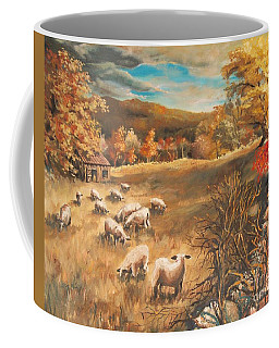 Coffee Mug featuring the painting Sheep In October's Field by Joy Nichols