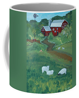Coffee Mug featuring the painting Sheeps In The Meadow by Virginia Coyle