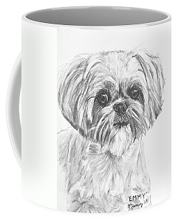 Shih Tzu Portrait In Charcoal Coffee Mug by Kate Sumners