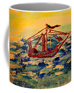 Coffee Mug featuring the painting Ship.abstract. by Viktor Lazarev