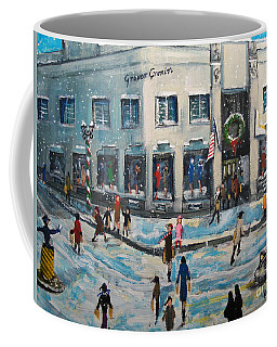 Coffee Mug featuring the painting Shopping At Grover Cronin by Rita Brown
