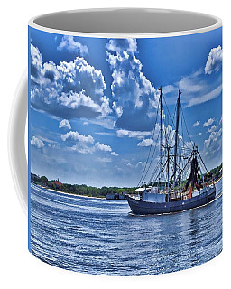 Shrimp Boat Heading To Sea Coffee Mug by Ludwig Keck