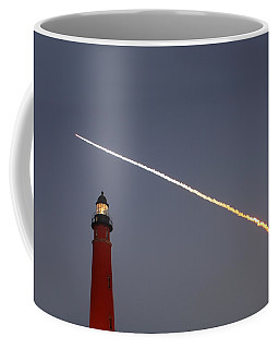 Coffee Mug featuring the photograph Shuttle Discovery Liftoff Over Ponce Inlet Lighthouse by Paul Rebmann