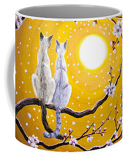 Siamese Cats Nestled In Golden Sakura Coffee Mug by Laura Iverson