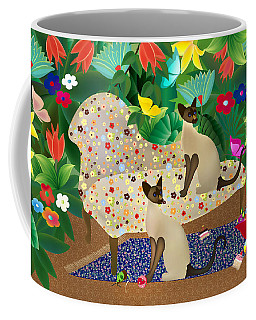 Siameses En Chaise Con Flores Limited Edition 2 Of 15 Coffee Mug