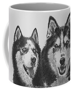 Siberian Husky Dogs Sketched In Charcoal Coffee Mug by Kate Sumners
