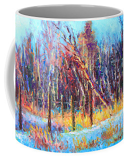 Signs Of Spring - Trees And Snow Kissed By Spring Light Coffee Mug