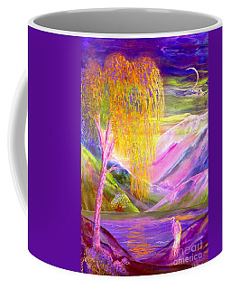 Silent Waters, Silver Birch And Egret Coffee Mug