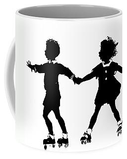 Silhouette Of Children Rollerskating Coffee Mug by Rose Santuci-Sofranko