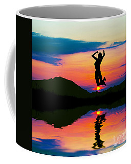 Silhouette Of Happy Woman Jumping At Sunset Coffee Mug