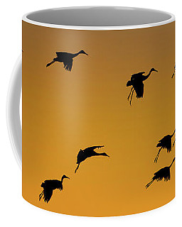 Silhouette Of Sandhill Cranes Grus Coffee Mug