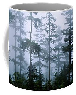 Silhouette Of Trees With Fog Coffee Mug