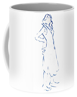 Silhouetted Woman Standing Coffee Mug