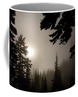 Silhouettes Of Trees On Mt Rainier Coffee Mug