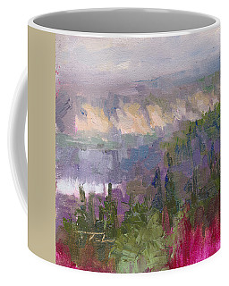 Coffee Mug featuring the painting Silver And Gold - Matanuska Canyon Cliffs River Fireweed by Talya Johnson