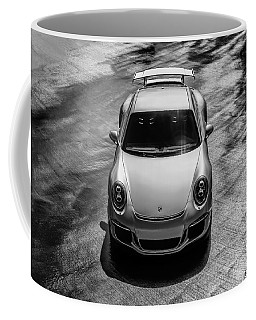 Coffee Mug featuring the digital art Silver Porsche 911 Gt3 by Douglas Pittman