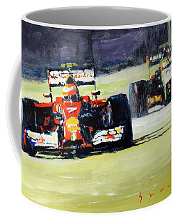 2014 Singapore Gp Raikkonen Scuderia Ferrari F14 T Perez Sahara Force India F1  Coffee Mug