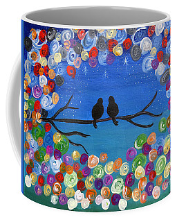 Coffee Mug featuring the painting Singing To The Stars Tree Bird Art Painting Print by Ella Kaye Dickey