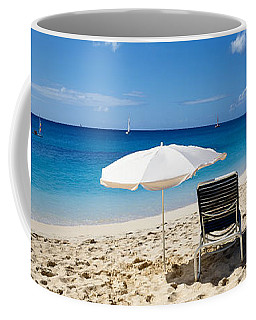 Single Beach Chair And Umbrella On Coffee Mug