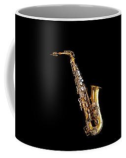 Single Saxophone Against Black Coffee Mug