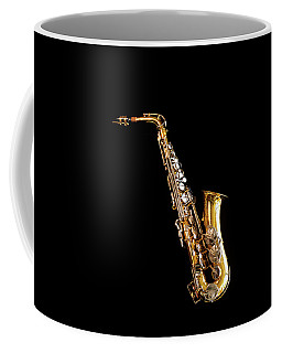 Single Saxophone Against Black Coffee Mug