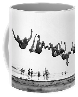 Six Men Doing Beach Flips Coffee Mug