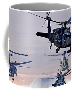 Six Uh-60l Black Hawks And Two Ch-47f Chinooks Coffee Mug