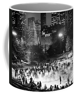 Coffee Mug featuring the photograph New York City - Skating Rink - Monochrome by Dave Beckerman